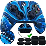 9CDeer 1 Piece of Studded Protective Silicone Cover Skin Sleeve Case + 8 Thumb Grips Analog Caps for Xbox One/S/X…