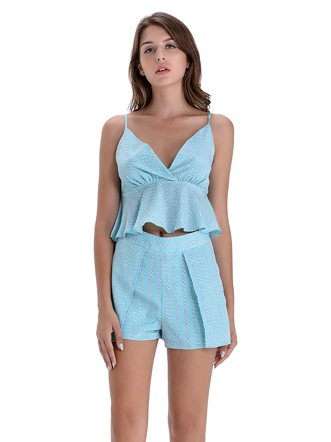 f252c0175585 Wherever you roam, the women short sets outfits Two-Piece Romper crop top  and skirt set will provide effortless style the entire way! Deep V neck  design, ...
