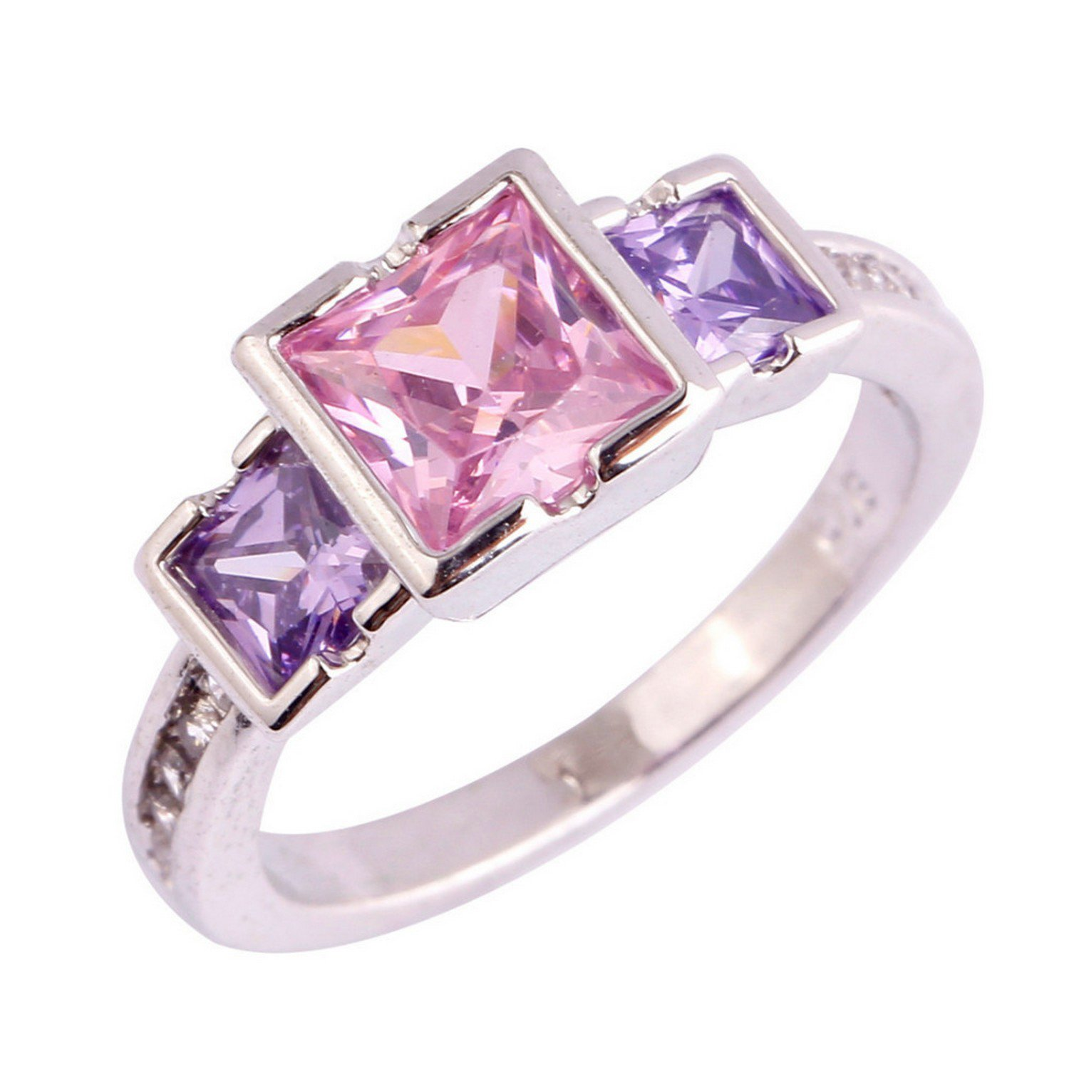 Slyq Jewelry Pink CZ Purple Nice Jewelry Silver Color Women rose gold engagement ring women fashion rings