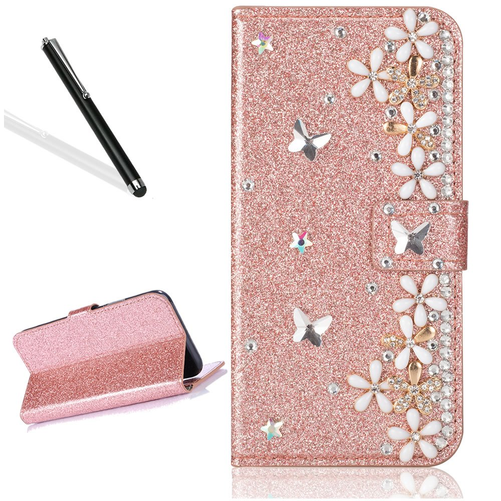 Diamand Case for iPhone 8 4.7'',Bling Glitter Folio Case for iPhone 7 4.7''/8 4.7'',Leecase Luxury Noble Sparkle Shining Rose Gold Butterfly Flower Pattern Protect Cover for iPhone 7 4.7''/8 4.7''