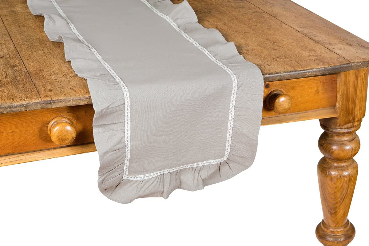 Xia Home Fashions Ruffle Trim Lace Table Runner, 16 by 72-Inch, Taupe with White