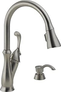 Delta Faucet Arabella Single-Handle Kitchen Sink Faucet with Pull Down Sprayer, Soap Dispenser and Magnetic Docking Spray Head, Stainless 19950-SSSD-DST