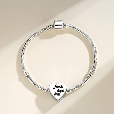 Buy Clyqcl Charms Beads Fit Pandora Charms Bracelet And Necklaces Love Heart Shape Charms With Faith Hope Love Online In Indonesia B08cbz7y8k