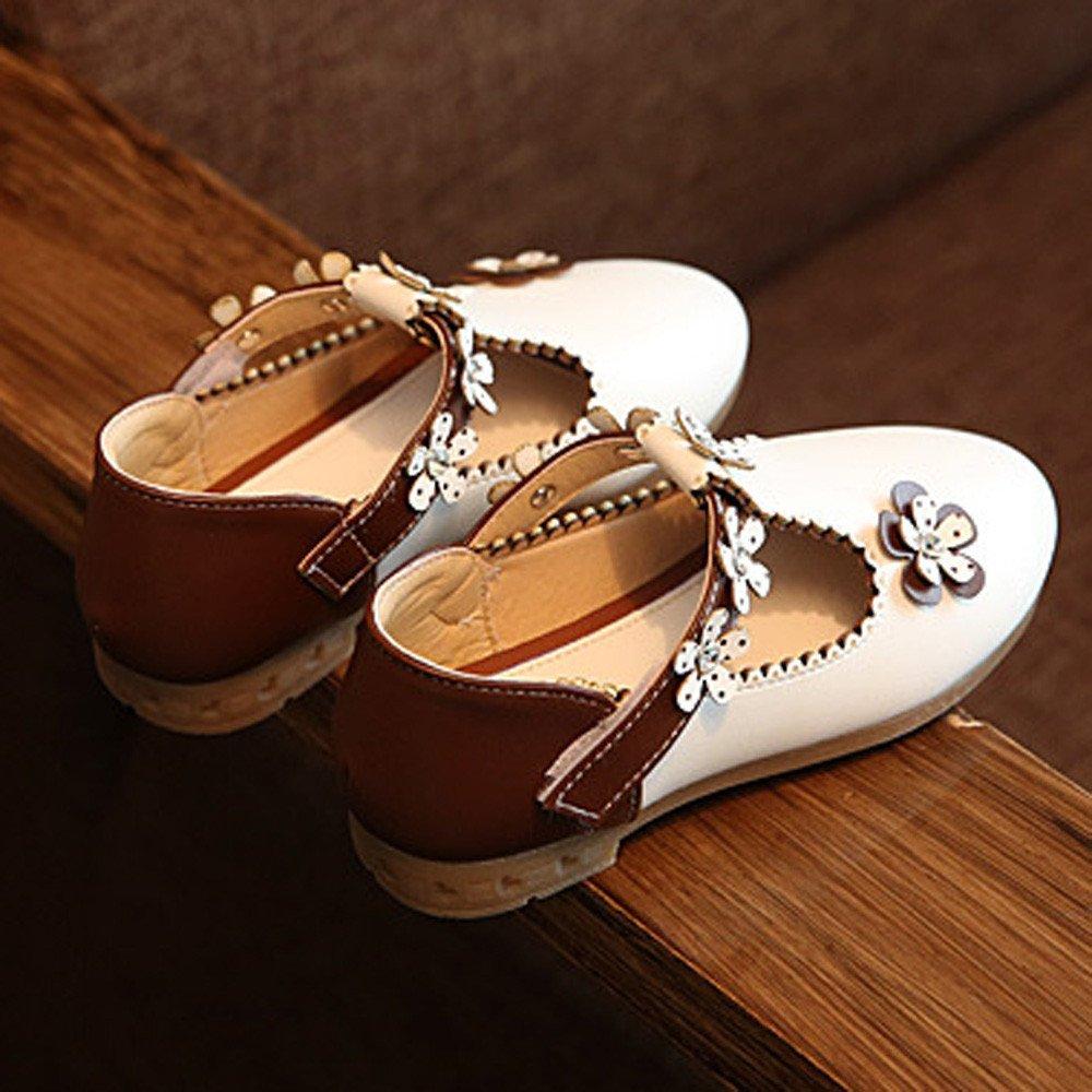 YanHoo Zapatos de niñas Flores Zapatos Solos Zapatos de Cuero Zapatos Princesa Bebé Moda Zapatillas de Deporte Niño Niñas Floral Casual Solos Zapatos de ...
