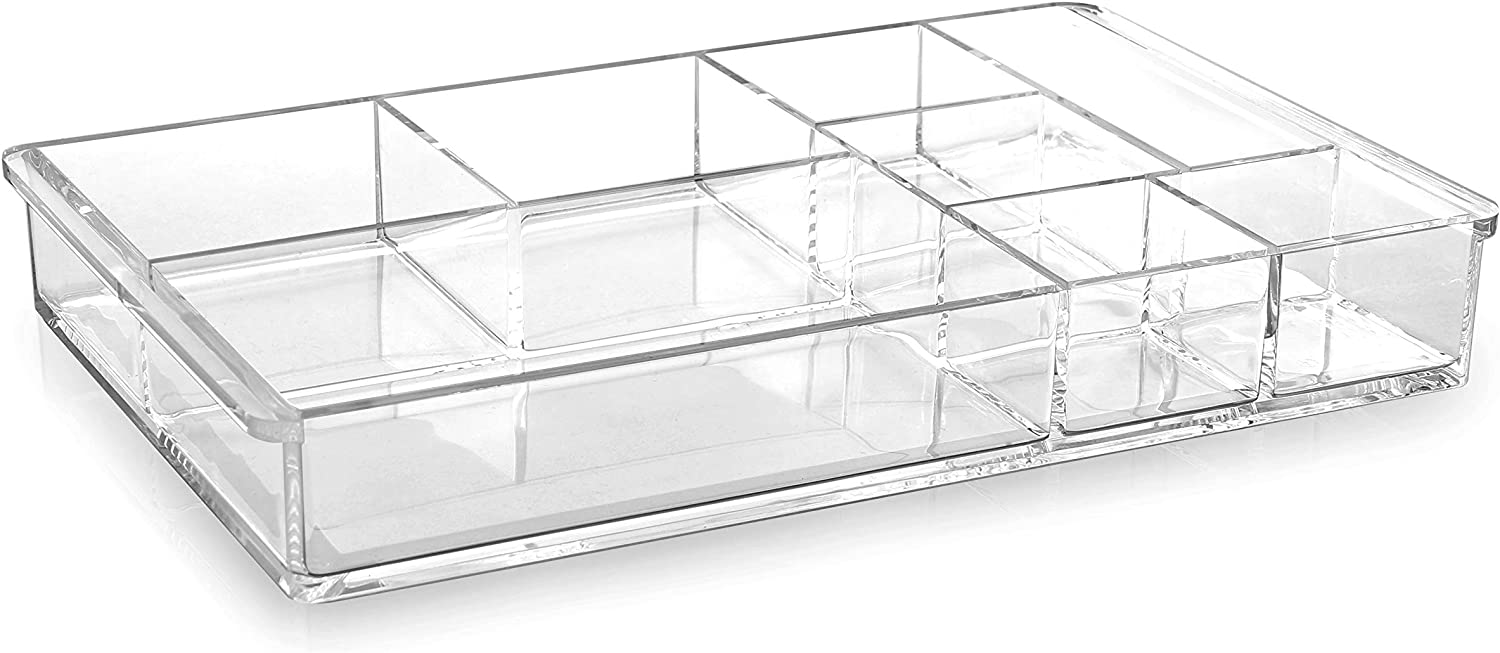 BINO 'The Mondrian' 8 Compartment Jewelry and Makeup Organizer, Clear and Transparent Cosmetic Beauty Vanity Holder Storage