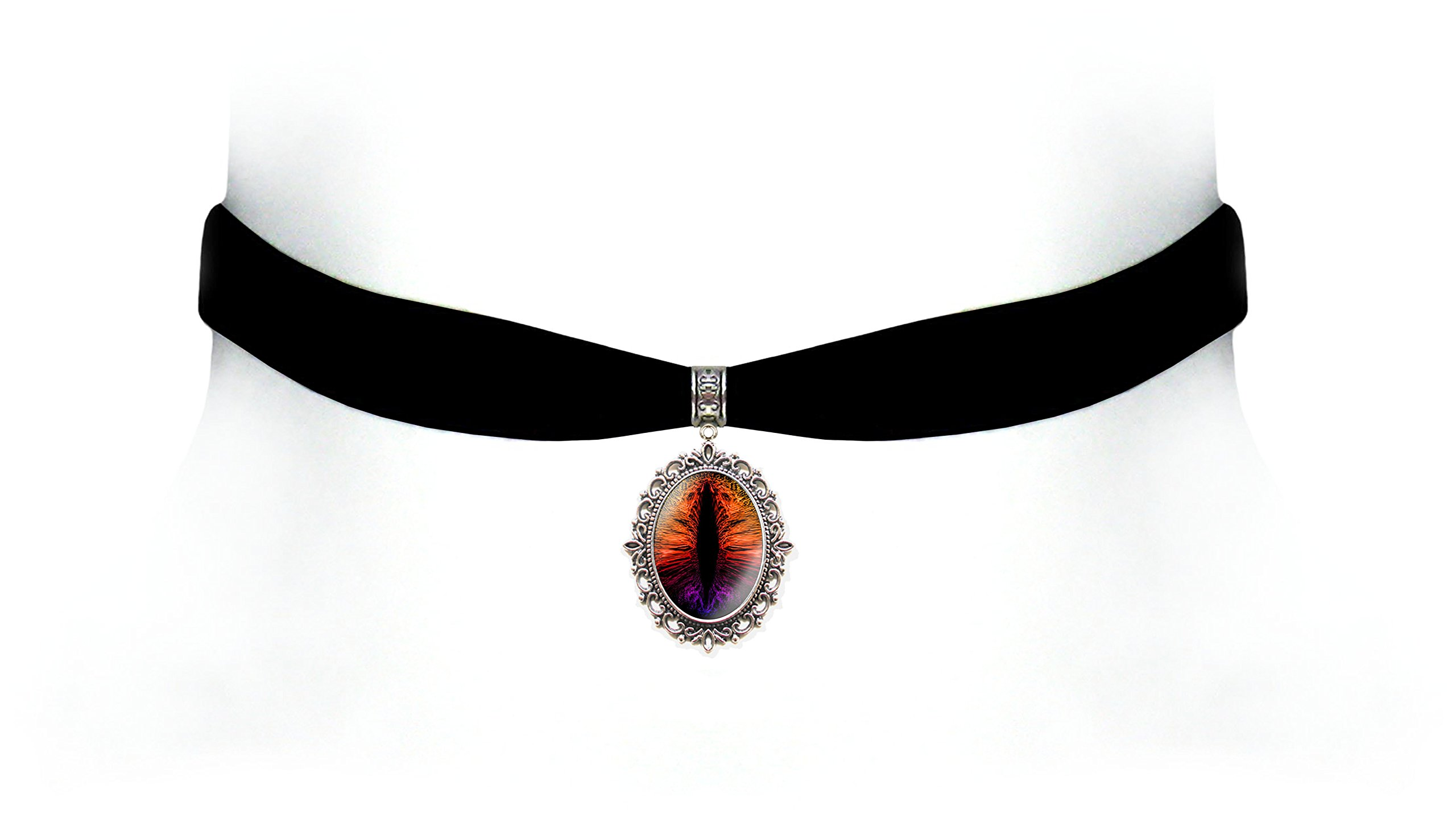 Victorian Vault Black Velvet Dragon Eye Choker Steampunk Gothic Pendant Necklace (Flame Rainbow)