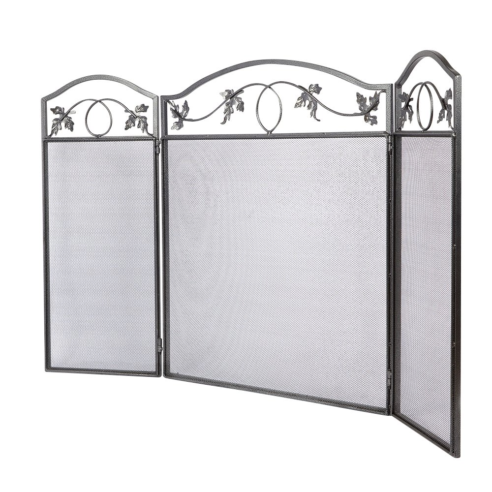 amazon com amagabeli 3 panel pewter wrought iron fireplace screen