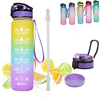 GEMFUL1l Motivational BPA-free Water Bottle with Time Marking and Filter and Straw