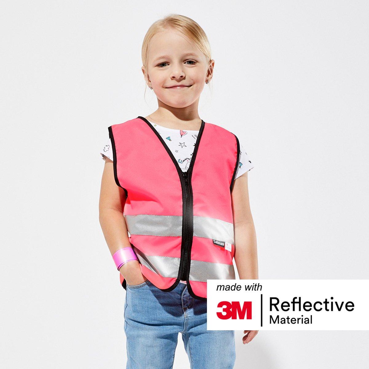 Salzmann 3M Warnweste f/ür Kinder mit Rei/ßverschluss in 4 Farben und 3 Gr/ö/ßen verf/ügbar mit 3M reflektierendem Material