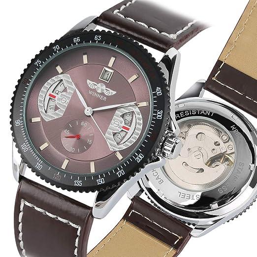 Winner - Reloj de Pulsera para Hombre (Correa de Piel), Color Negro: Amazon.es: Relojes