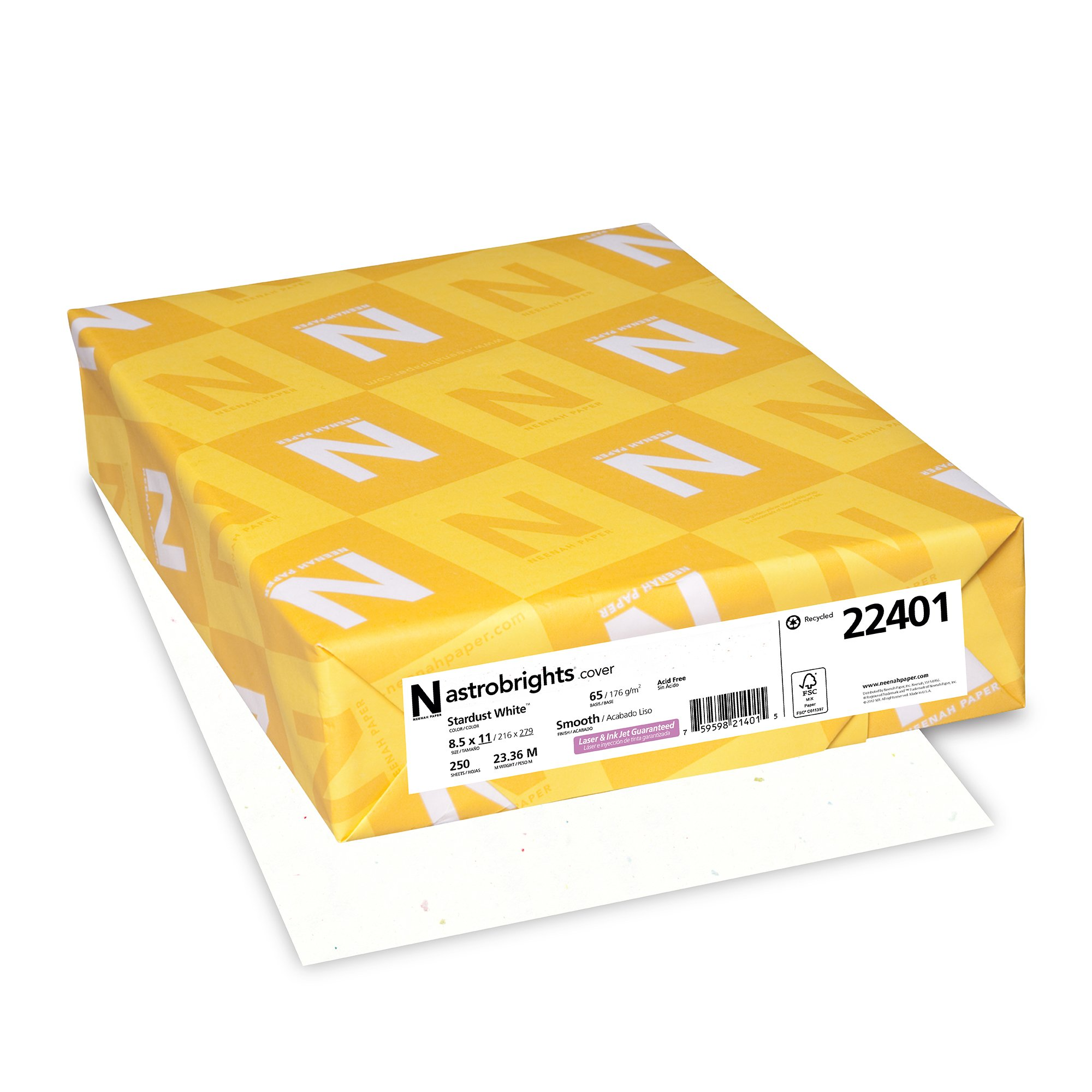 Neenah Paper Astrobrights Colored Cardstock, 8.5'' x 11'', 65 lb / 176 gsm, Stardust White, 250 Sheets (22401)