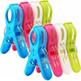 bingolar 8Pcs Beach Towel Clips,Plastic Windproof Clothes Hanging Peg,Plastic Quilt Clips,Large Beach Towels,Quilt Clamp Holder Sunbed Peg, Sunbed,Pool.