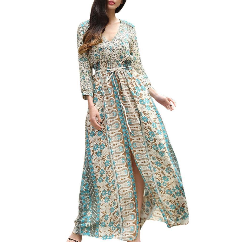 Pervobs Women T-Shirt, Big Promotion! Womens Elegant Floral Boho Long Sleeve Maxi Dress With Belt Evening Party Dresses (S, Green)