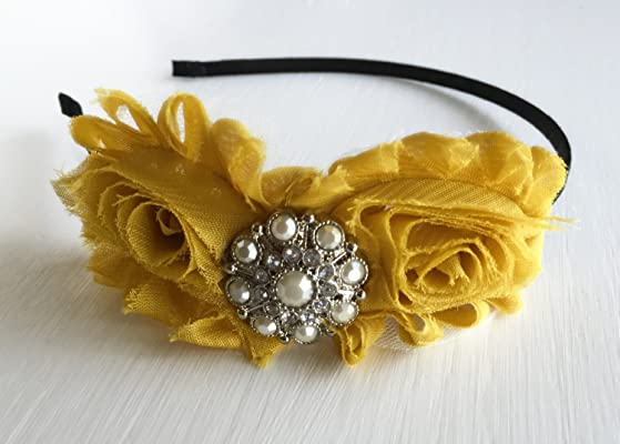 Mustard Headband - Adult Headband - Old Gold Headband - Mustard Yellow Headpiece - Rose Hair Accessory - Grey Headband - Fall Headband - Bow