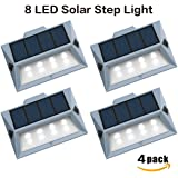 【Newest Version 8 LED】Solar Stair Step Lights Outdoor Decorative Solar Deck Lights Wireless Waterproof Lighting for Garden Wall Paths Patio Decks Auto On/Off 4 Pack