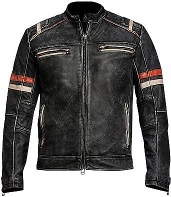 Men/'s Biker Vintage Motorcycle Cafe Racer Retro 2 Moto Distressed Leather Jacket