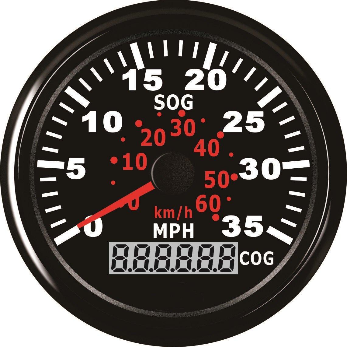 GPS tachimetro Speedo gauge 0 –  35 mph per barca yacht nave da 3 –  3/20, 3 cm (85 mm) 9 –  32 V 3cm (85mm) 9-32V ELING