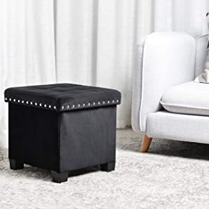 KINWELL Foldable Storage Ottoman, Velvet Tufted, Cubes Footrest, Rest Seat, Removable Lid Tufted,Black