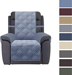 Ameritex Recliner Chair Cover with Anti-Skip Dog Paw Print 100% Water-Resistant Quilted Furniture Protector Slipcover for Dogs, Children, Pets Sofa Slipcover for Leather Couch (Stone Blue, Recliner)