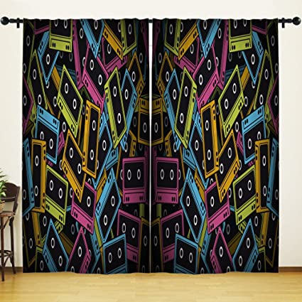 Migant Tape Window Curtains Decor.VHS Colourful Tapes Cassettes Polyester Blackout Curtains Window Drapes Set