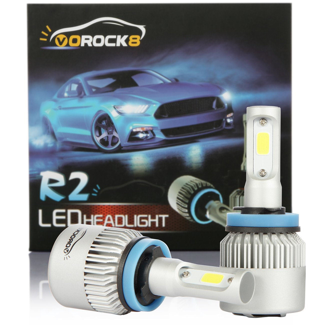 VoRock8 R2 COB H11 H8 H9 H16 8000 Lumens Led Headlight Conversion Kit, Low Beam Headlamp, Fog Driving Light, Halogen Head Light Replacement, 6500K Xenon White, 1 Pair by VoRock8