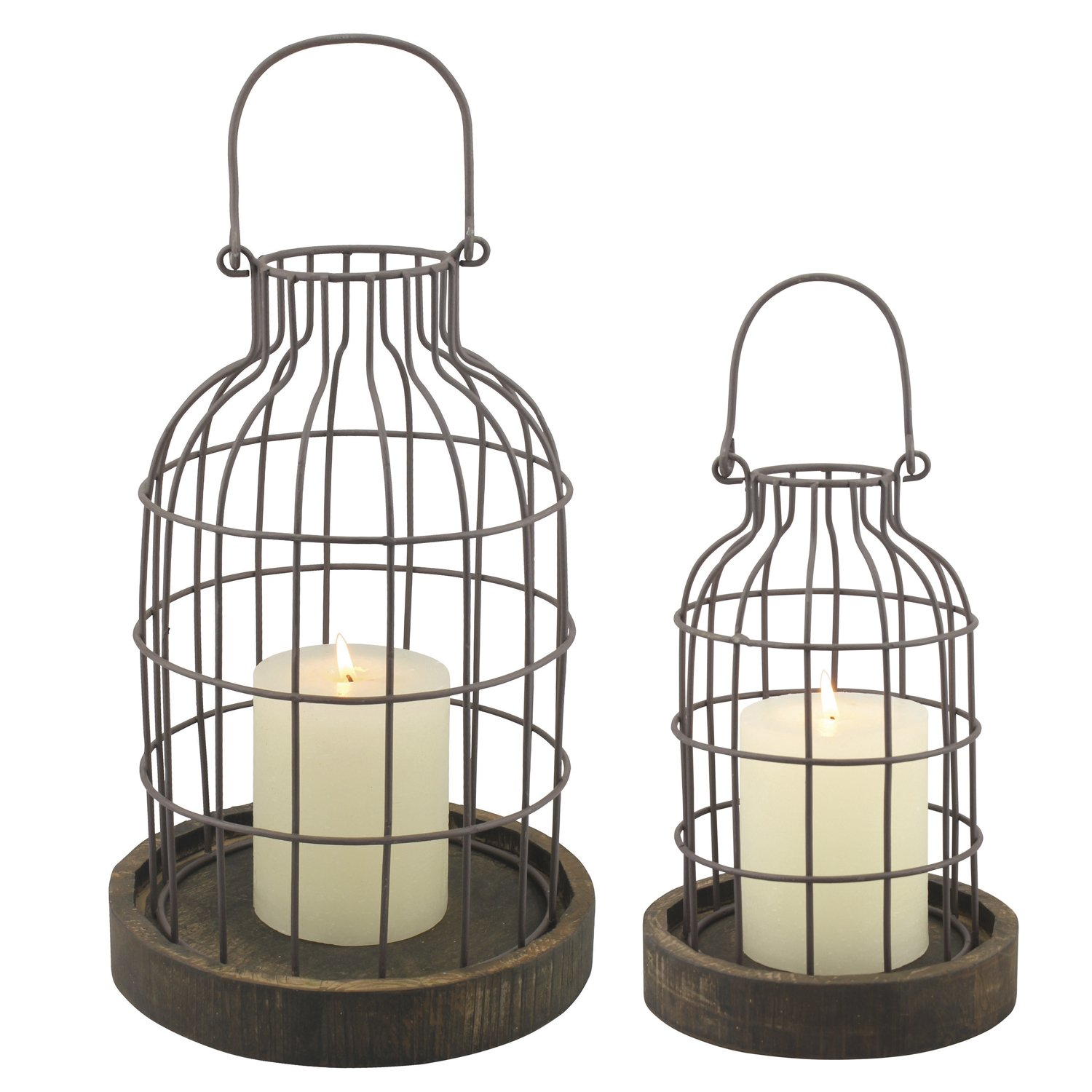 Stonebriar Rustic Metal Wire Cage Cloche Set with Rustic Wooden Bases, Industrial and Farmhouse Home Decor Accents, Display Flowers, Succulents, Air Plants, Fairy Lights, Decorative Fill, and More by Stonebriar