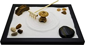 Zenfy Zen Sand Garden for Desk with Rake, Rocks and Figures