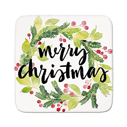 Cozy Seat Protector Pads Cushion Area RugChristmasWatercolor Painting Style Christmas Wreath And