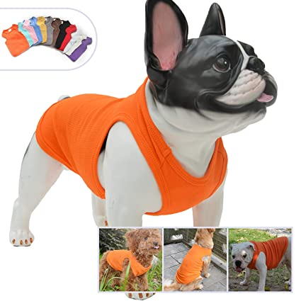 66a96499ff7 Lovelonglong 2019 Summer Pet Clothing, Dog Clothes Blank T-Shirts Ribbed  Tanks Top Thread Vests for Bulldog Large Medium Small Dogs 100% Cotton