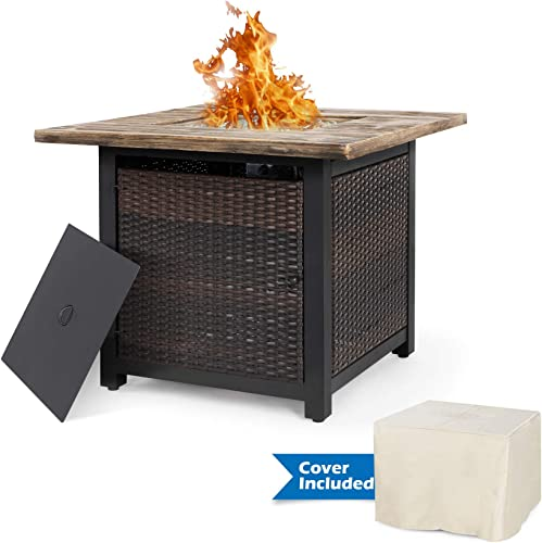 Nuu Garden 34 Inch Wicker Steel Frame Propane Gas Fire Pit Table, Outdoor 50,000 BTU Auto-Ignition Fire Pit with Water-Resistant Cover, Glass Rocks and Tale Lid, MGO Tabletop – Brown