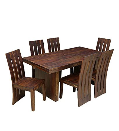 Admirable Nisha Furniture Sheesham Wooden Dining Table 6 Seater Dining Table Set With 6 Chairs Home Dining Room Furniture Curvy Pattern Walnut Brown Forskolin Free Trial Chair Design Images Forskolin Free Trialorg