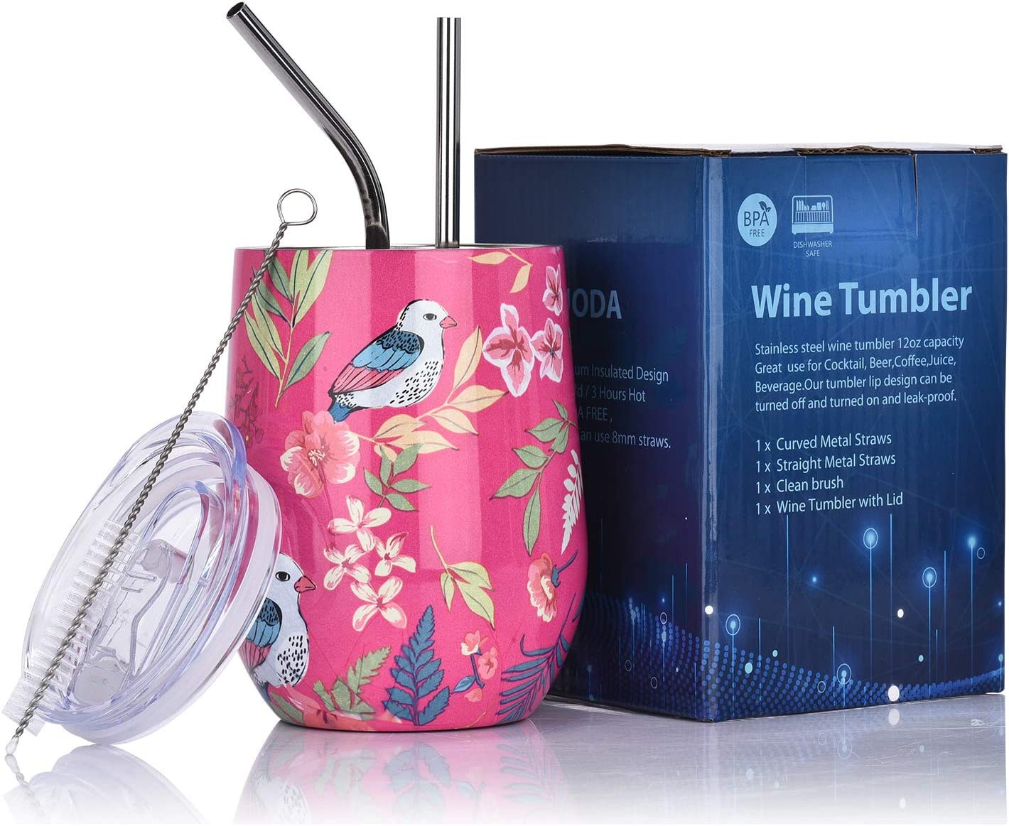 LUODA 12 Oz Stainless Steel Stemless Wine Glass Tumbler with Lid and Straw Vacuum Insulated Double Wall Travel Tumbler Cup for Coffee, Wine, Cocktails, Champagne Ice Cream(Pink Bird)