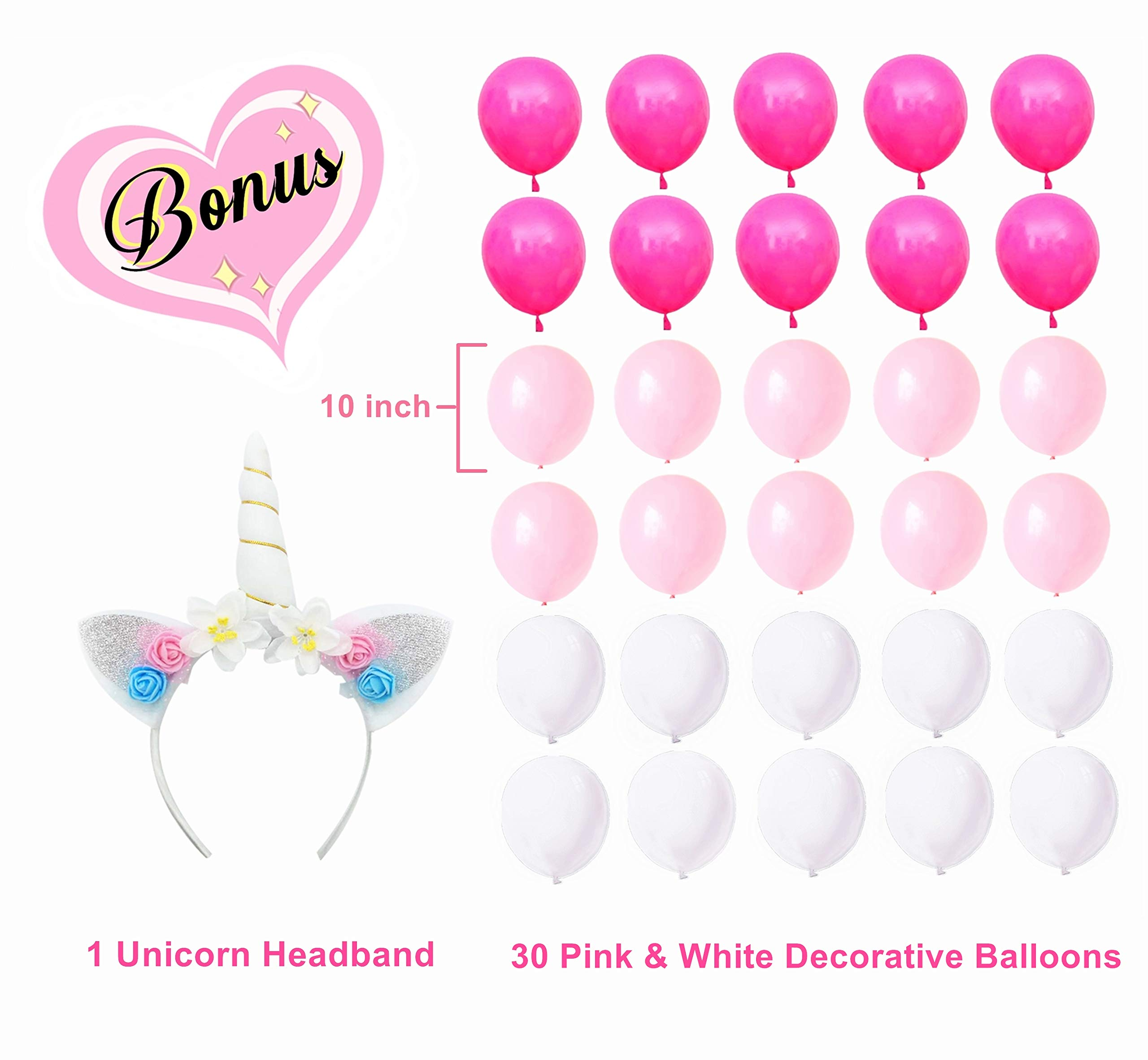 Unicorn Party Supplies Set with BONUS Glittery Unicorn Headband and 30 Balloons   145 Piece Disposable Unicorn Themed… 6