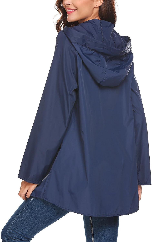 Zeagoo Womens Waterproof Packable Rain Jacket Batwing-Sleeved Poncho Raincoat