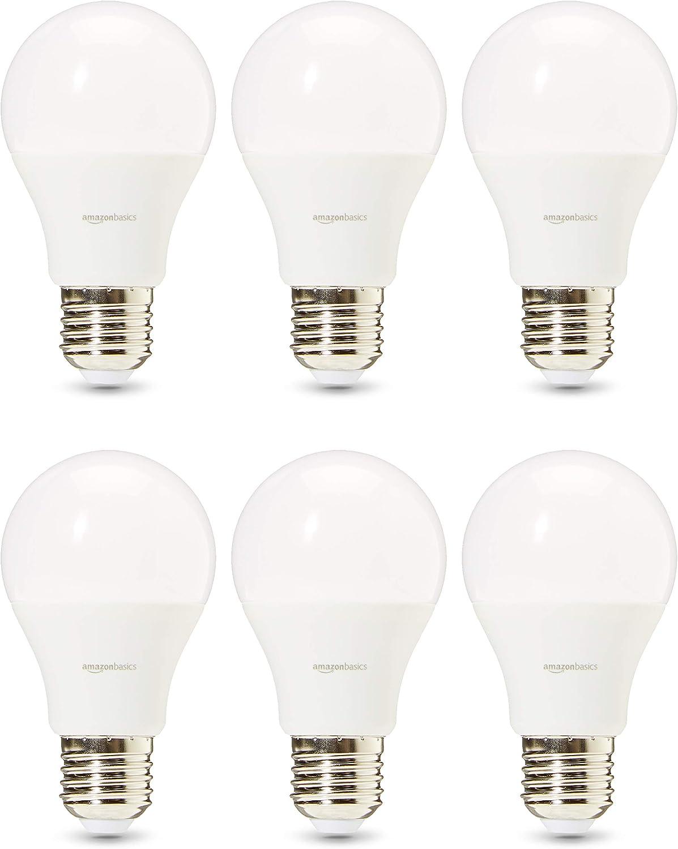 AmazonBasics Professional - Bombilla de tipo Edison LED, casquillo E27, equivalente a 75W, blanco frío - juego de 6