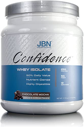 Confidence by JBN 100 Whey Isolate Protein Powder Mix – 5 Grams of Fibersol – Great Tasting – Easily Digestible – High Purity Potency – Great for Weight Loss Mocha Latte , 12 Servings