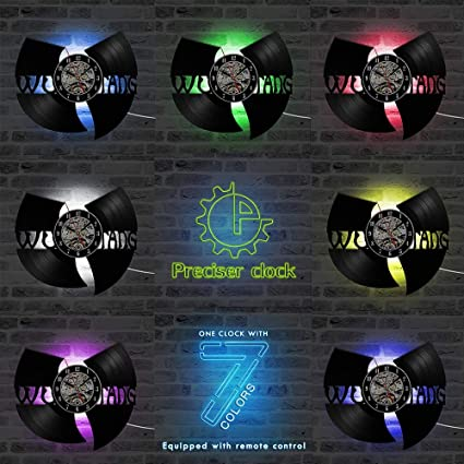 LTOOD WU Tang Clan Hip-Hop Banda Hot LED Record Reloj Vinilo Regalo Creativo para