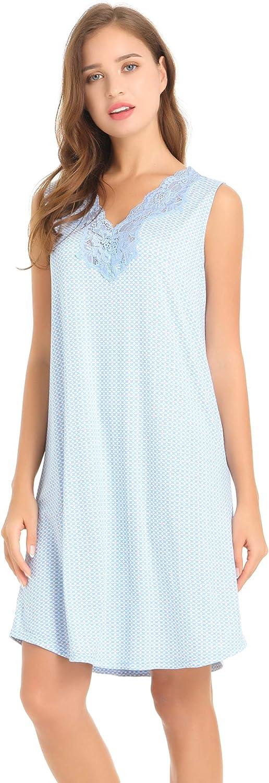 Amorbella Womens Bamboo Sleeveless Nightgown Lace V Neck Sleep Tank Dress