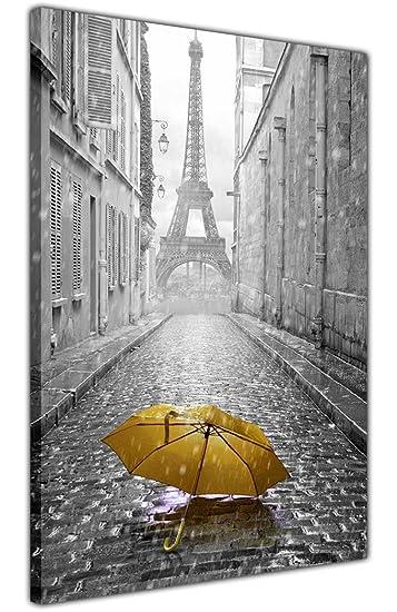 CANVAS IT UP Paris Kunstdruck Leinwanddruck Iconic Ieffel Turm Mit Schirm  18 Mm Bilderrahmen, Giclée