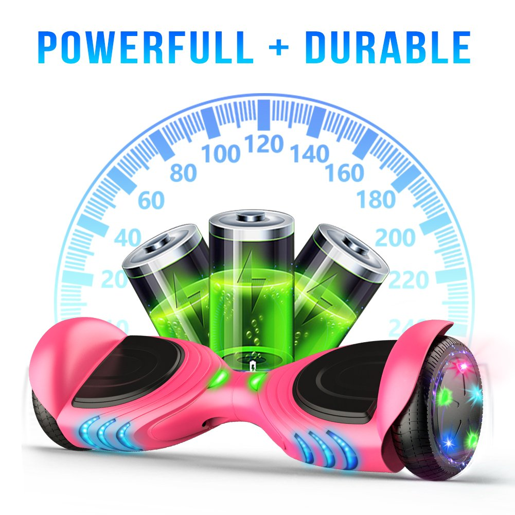 TOMOLOO Hoverboard with Bluetooth Speaker, UL2272 Certified Self Balancing Electric Scooter, 6.5 Two-Wheel Hover Boards with LED Lights for Kids and Adult