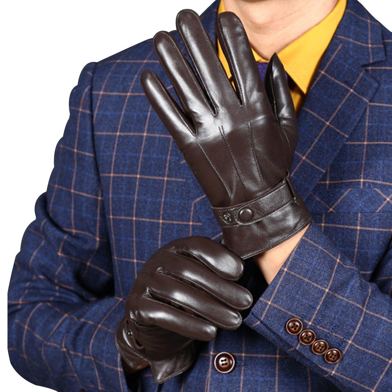 KelaSip Mens Winter Genuine Lambskin Leather Gloves,Classic Fashion Touchscreen Warm Soft Cashmere Lining Gloves Brown