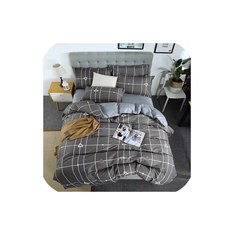 LOVE-JING 3/4Pcs Bedding Set Geometric Duvet Cover Solid Flat Sheet Color Bed Linen Set Leaf Bed Set Ab Side Home Decor Grey Bedclothes,05,Full 4Pcs,(Flat Bed Sheet)