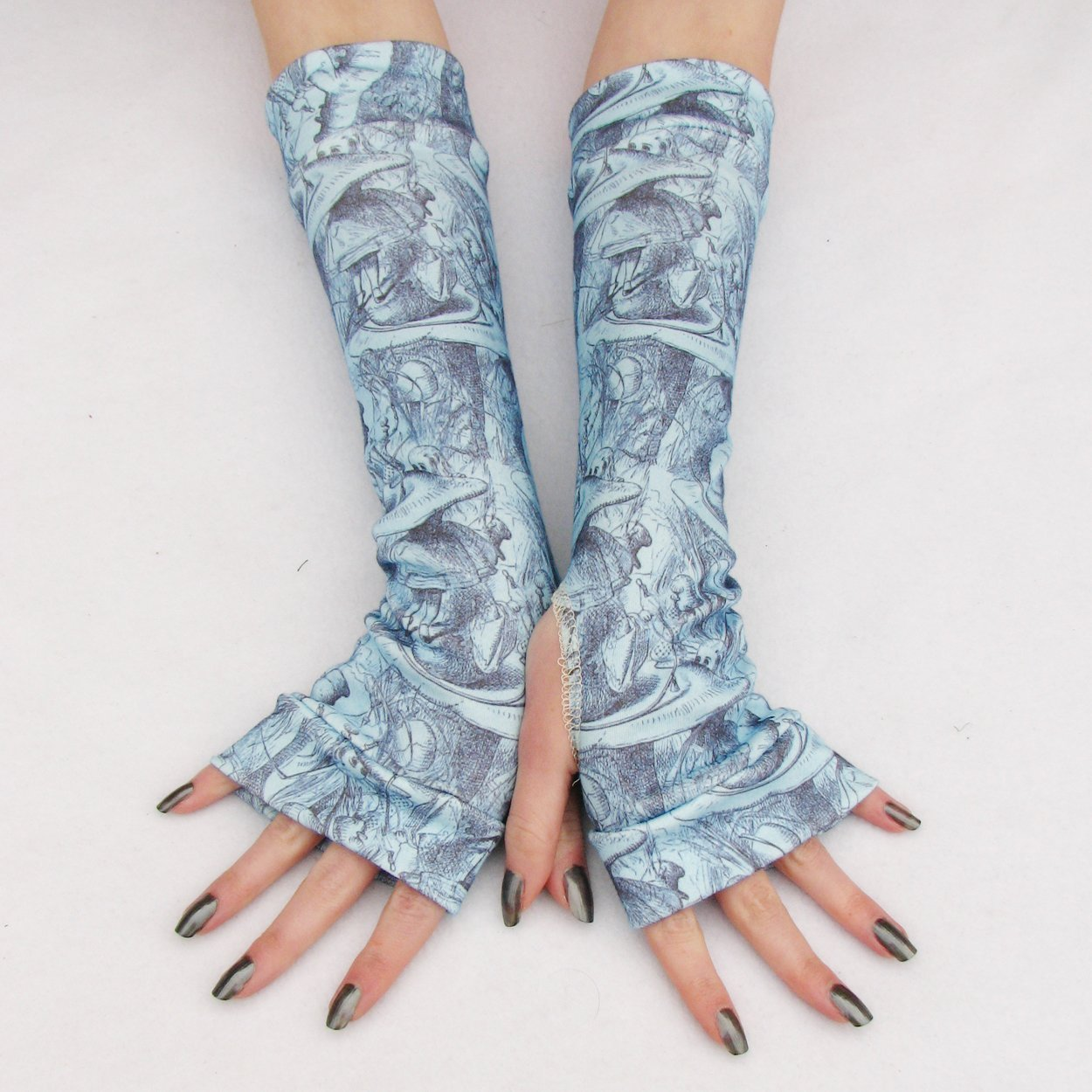 Alice in Wonderland Blue Arm Warmers gloves