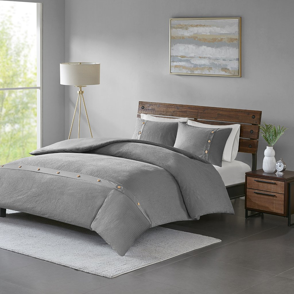 Madison Park Finley Duvet Cover Reversible Solid 100% Cotton Honeycomb Waffle Weave Stripes Corner Ties Sensory Texture Wood Button Accent Soft All Season Bedding-Sets, Full/Queen, Grey