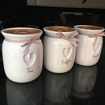 Large tea coffee sugar ceramic canisters engraved heart kitchen storage jars set