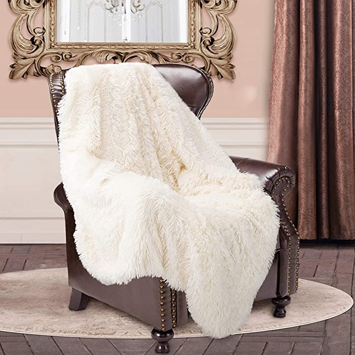 """junovo Super Soft Shaggy Longfur Faux Fur Blanket, Fuzzy Throw Blanket for Bed, Fluffy Cozy Plush Light Blanket, Washable Warm Furry Throw Blanket for Couch Sofa Chair Home Decor, 50""""x60"""" Cream White"""