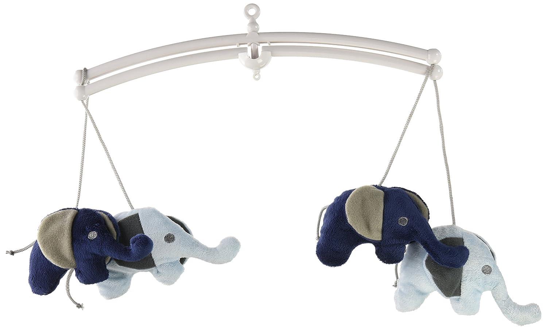 Bacati Elephants Musical Mobile, Blue/Gray EBGMO