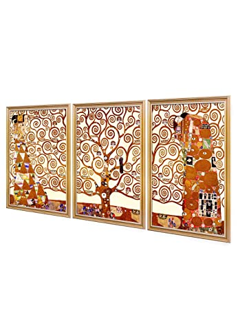 DECORARTS- The Tree of Life by Gustav Klimt Triptych . World Classic Art Giclee Print On Canvas. Matching with Art Frame. 20×30 x3P, Total Size w Frame 22.5×32.5 x3P