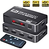 4K HDR HDMI Switch, Koopman 5 Ports 4K 60Hz HDMI 2.0 Switcher Selector with IR Remote, Supports Ultra HD Dolby Vision, High Speed (Max to 18.5Gbps), HDR10, HDCP 2.2 & 3D