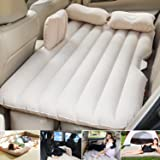 BK 10 IMPORT & EXPORT Travel Bed Sofa with 2 Inflatable Pillows and Air Pump for Car Back Seat (Cream)
